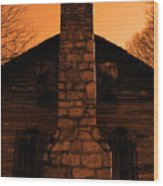 Chimney Sky In Sepia Wood Print