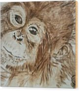 Chimp Wood Print