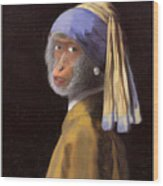 Chimp With A Pearl Earring Wood Print