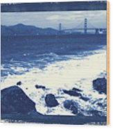 China Beach And Golden Gate Bridge With Blue Tones Wood Print