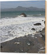 China Beach With Outgoing Wave Wood Print