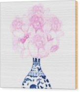 China Blue Ming Vase With Peony Wood Print