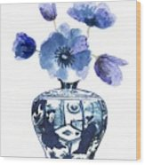 China Blue Vase  With Poppy Flower Wood Print