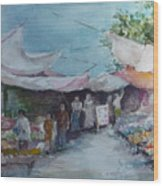 China Market Place Wood Print by Dorothy Herron