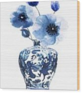 China Ming Vase With Flower Wood Print
