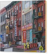 China Town Buildings Wood Print