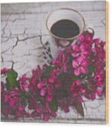 Chinaberry Blossoms And Coffee Cup Wood Print