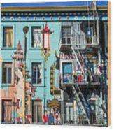 Chinatown Mural On Broadway Wood Print