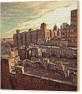 Chinatown Rooftop Graffiti And The Brooklyn Bridge - New York City Wood Print