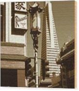 San Francisco Chinatown And Pyramid Wood Print