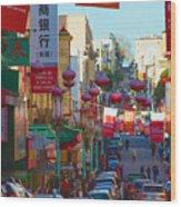 Chinatown Street Scene Wood Print
