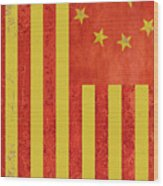 Chinese American Flag Vertical Wood Print