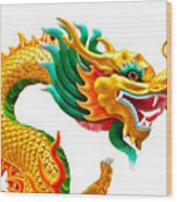 Chinese Beautiful Dragon Isolated On White Background Wood Print