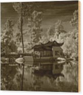 Chinese Botanical Garden In California With Koi Fish In Sepia Tone Wood Print
