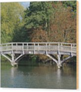 Chinese Bridge Over The River Wood Print