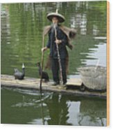 Chinese Cormorant Fisherman Wood Print