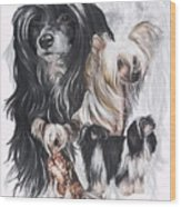 Chinese Crested And Powderpuff W/ghost Wood Print