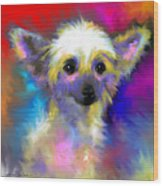 Chinese Crested Dog Puppy Painting Print Wood Print