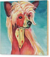 Chinese Crested Sunset Wood Print