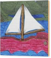 Chinese Fishing Boat Wood Print