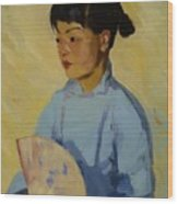 Chinese Girl With Fan 1914  Wood Print