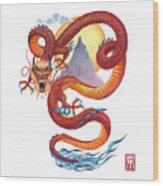 Chinese Red Dragon Wood Print