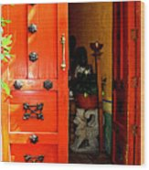 Chinese Red Shop Door Wood Print