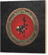 Chinese Zodiac - Year Of The Goat On Black Velvet Wood Print