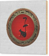 Chinese Zodiac - Year Of The Rat On White Leather Wood Print