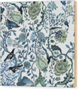 Chinoiserie Blue Wood Print