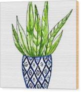 Chinoiserie Cactus No2 Wood Print