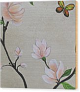 Chinoiserie - Magnolias And Birds #3 Wood Print