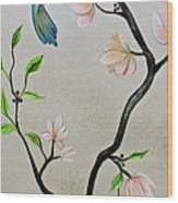 Chinoiserie - Magnolias And Birds #5 Wood Print