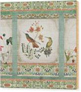 Triptych - Chinoiserie Vintage Hummingbirds N Flowers Wood Print