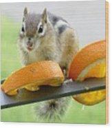 Chipmunk And Oranges 2 Wood Print