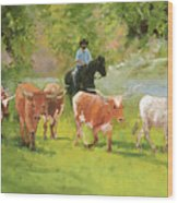 Chisholm Trail Texas Longhorn Cattle Drive Oil Painting By Kmcelwaine Wood Print