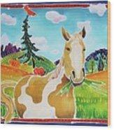 Chloe the Wild Mustang Wood Print