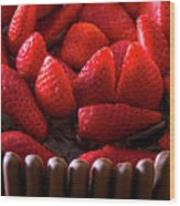 Chocolate And Strawberry Cake Wood Print