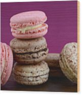 Chocolate And Strawberry Macaroons Wood Print