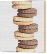 Chocolate And Vanilla Creamed Filled Cookies  Wood Print