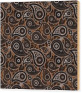 Chocolate Brown Paisley Design Wood Print