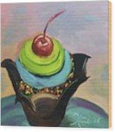 Chocolate Cupcake With Cherry Wood Print