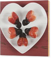 Chocolate Dipped Heart Shaped Strawberries On Heart Shape White Plate Wood Print