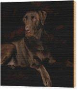 Chocolate Lab Dog Wood Print by Christine Till