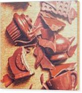 Chocolate Tableware Destruction Wood Print