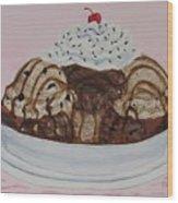 Chocolatey Brownie Sundae Wood Print