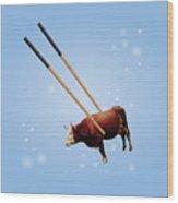 Chopsticks Cow Blue Stars Wood Print