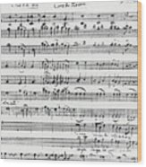Chorus Of Shepherds, Handwritten Score Of The Opera Ascanio In Alba Wood Print