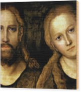 Christ And Mary Wood Print