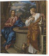 Christ And The Woman Of Samaria Wood Print